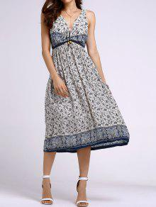 Bohemian Printed Round Neck Sleeveless Dress - Light Blue L