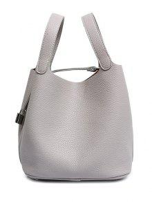 Lock Solid Color PU Leather Tote Bag - Gray