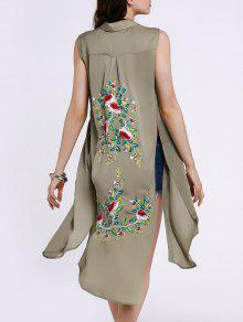 Buy High Slit Sleeveless Floral Embroidery Shirt Dress - PEA GREEN L