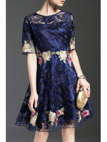 فستان مطرز شير توهج  - الأرجواني الأزرق L