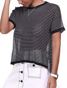 Striped Col Rond High Low Hem T-shirt - Noir