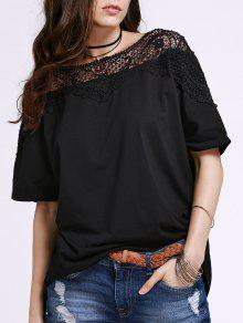 Cut Out Lace Spliced Round Neck Short Sleeve T-Shirt - Black Xl