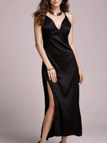High Slit Spaghetti Straps Solid Color Dress - Black L
