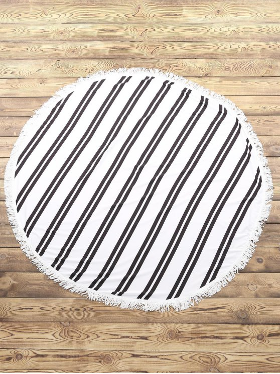 ladies Striped Round Beach Throw - WHITE AND BLACK ONE SIZE(FIT SIZE XS TO M)