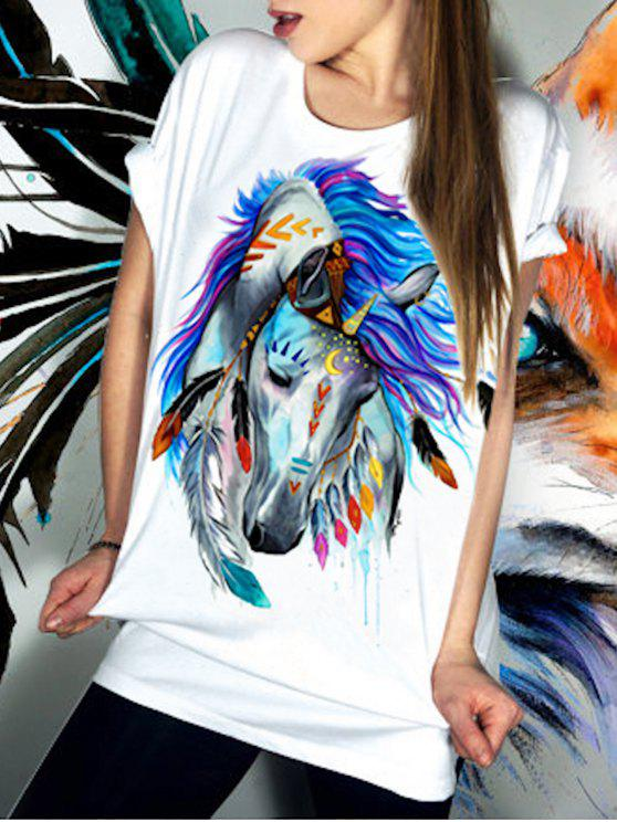 outfit Casual Short Sleeve Round Neck Horse Pattern Women's T-Shirt - WHITE S