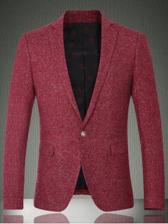 Solid Color-Revers-Langarm-Knopf-Entwurfs-Blazer für Männer - Weinrot M