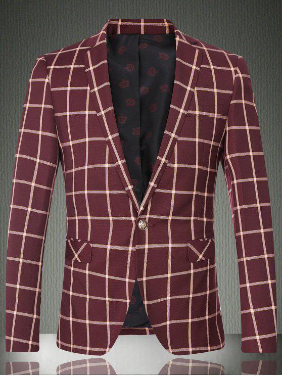 Karo-Revers-Langarm-Knopf-Entwurfs-Blazer für Männer - Weinrot M