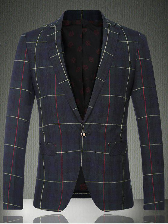 Tartan-Revers-Langarm-Knopf-Entwurfs-Blazer für Männer - Kariert M