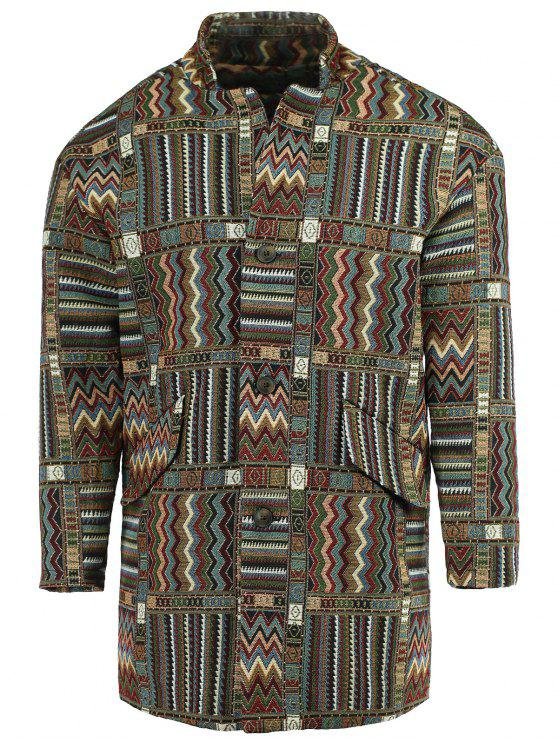 womens Ethnic Style Lapel Geometric Print Long Sleeve Coat For Men - COLORMIX XL
