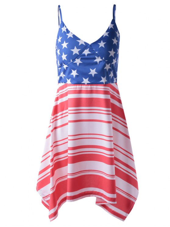 fancy Americana Flag Printing Spaghetti Strap Asymmetric Patriotic Dress - RED AND WHITE AND BLUE S