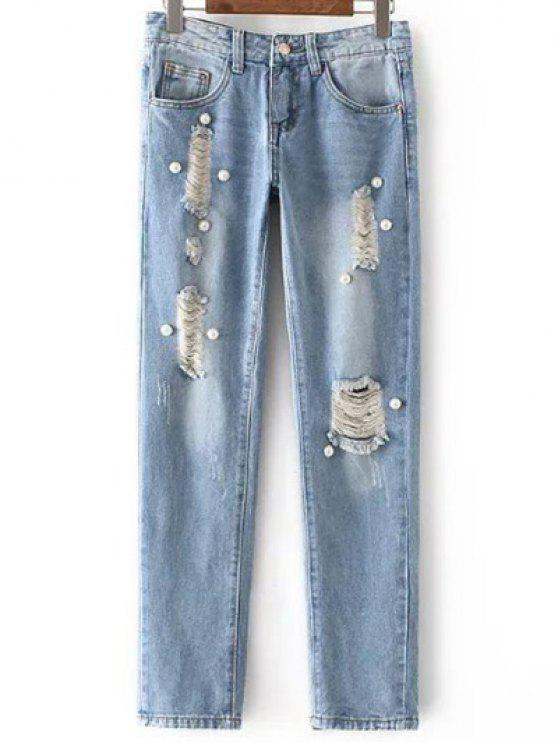 Perlage Ripped Jeans taille haute - Bleu clair L