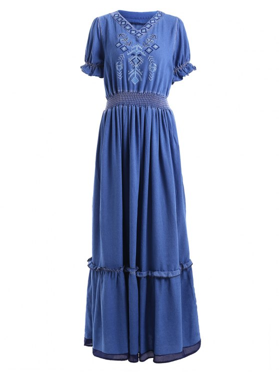 fancy Denim Bohemian V Neck Short Sleeve Maxi Dress - BLUE S