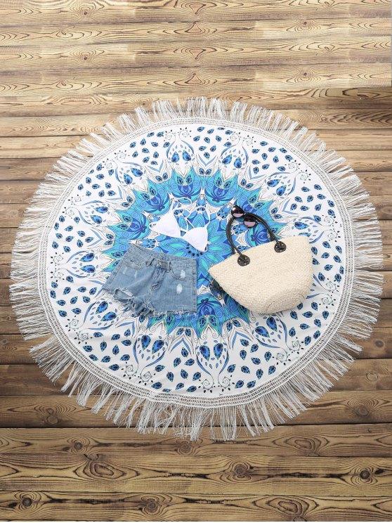 Bordée Serviette de plage ronde - Blanc Taille Unique(S'adap