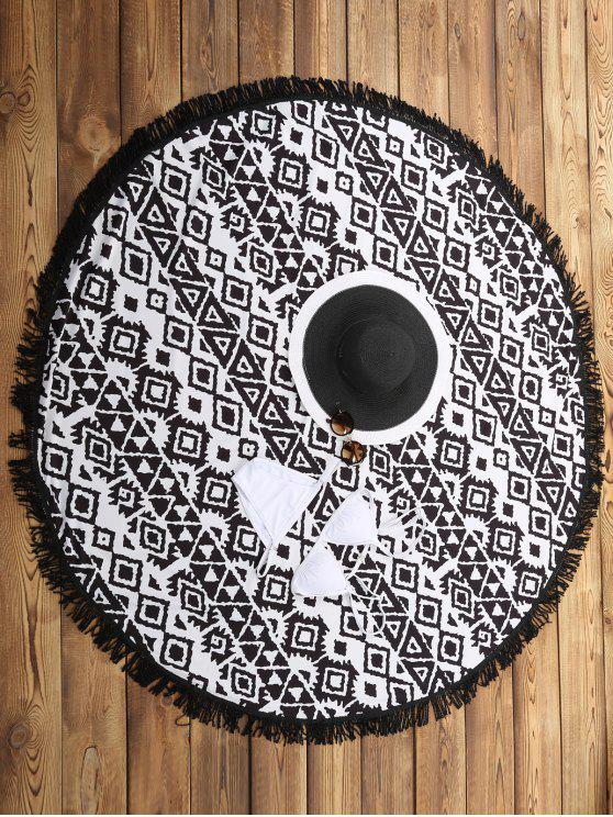women's Geometric Print Beach Throw - WHITE AND BLACK ONE SIZE(FIT SIZE XS TO M)