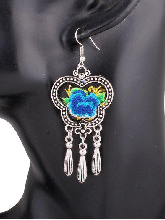 unique Flower Embroidery Fringe Earrings - BLUE