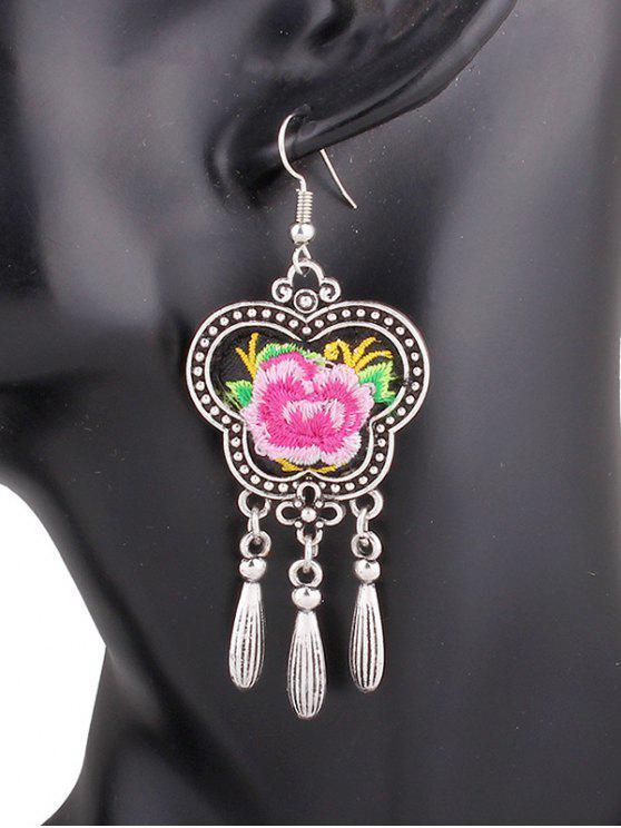 Flower Embroidery Fringe Earrings - Rosa