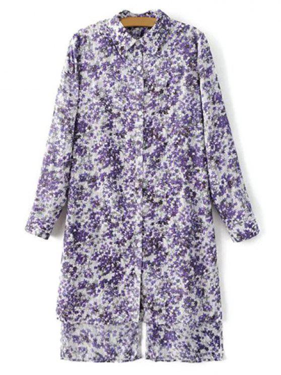 trendy High Low Hem Tiny Floral Print Shirt Dress - LIGHT PURPLE M