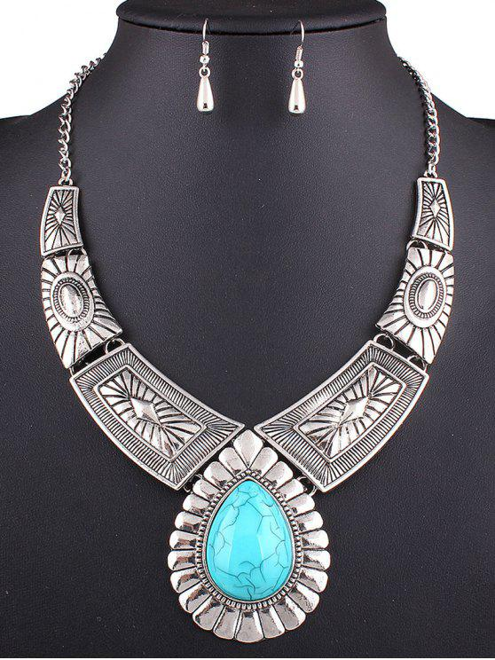 hot Faux Turquoise Teardrop Necklace and Earrings - SILVER