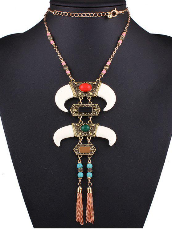 outfit Faux Gem Horn Necklace - COLORMIX