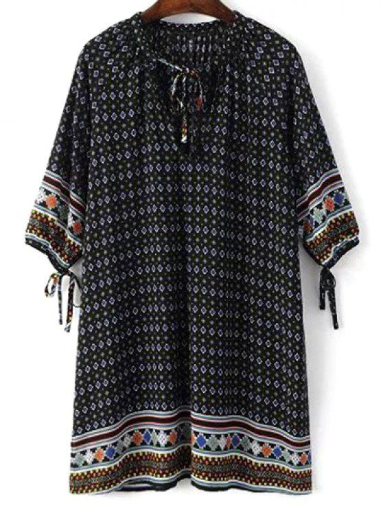 shops Tie Neck Printed Tunic Dress - BLACK M