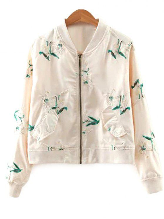 Long Sleeve Floral Embroidery stand Neck Jacket - Blanc Cassé S