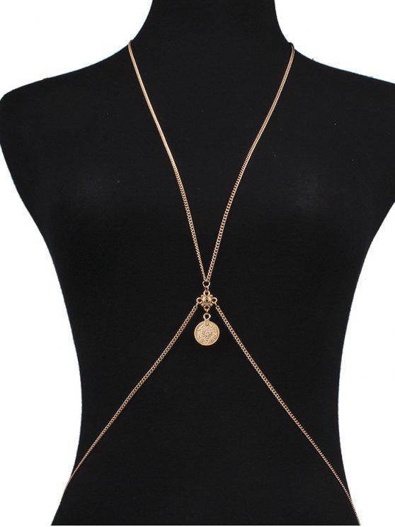 Crossed Coin Body Chain - Dorado