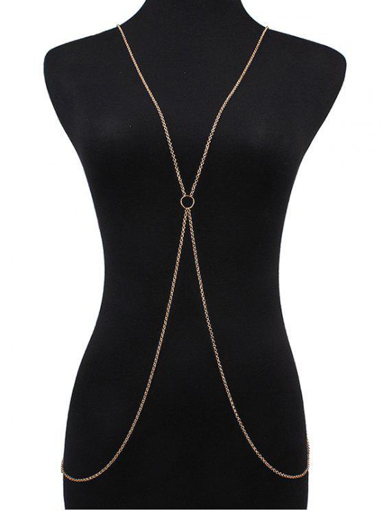 Circle Crossed Body Chain - Dorado