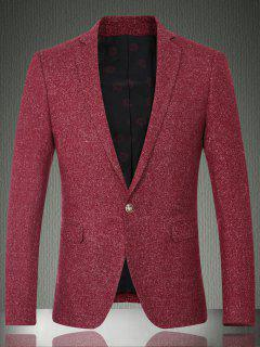 Solid Color Lapel Long Sleeve One Button Design Blazer For Men - Wine Red M