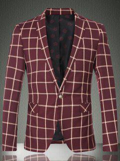 Checked Lapel Long Sleeve One Button Design Blazer For Men - Wine Red M