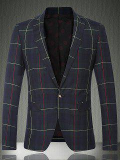 Tartan Lapel Long Sleeve One Button Design Blazer For Men - Checked M