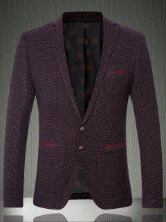 Polka Dot Lapel Long Sleeve Single Breasted Blazer For Men - Dark Red L