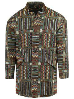 Ethnic Style Lapel Geometric Print Long Sleeve Coat For Men - Xl