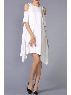 Cold Shoulder Asymmetric Hem Dress - White Xs