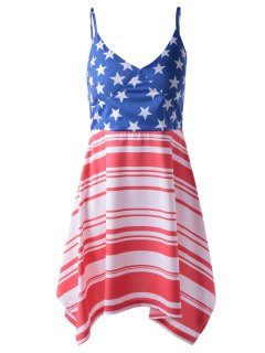 Americana Flag Printing Spaghetti Strap Asymmetric Patriotic Dress - Red And White And Blue S