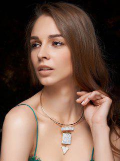 Geometric Turquoise Necklace - White