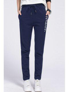 Side Letter Graphic Running Pants - Sapphire Blue L