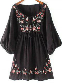 Floral Embroidery Scoop Neck Puff Sleeve Dress - Black M