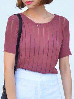 Sheer Stripe Knitted T-Shirt - Claret