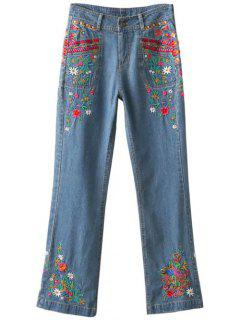 Tiny Floral Embroidery High Waisted Jeans - Ice Blue S