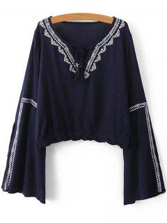Retro Embroidery Bell Sleeve Cropped T-Shirt - Purplish Blue S