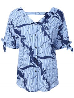 Short Sleeve Striped Bowknot Back V Pattern Shirt - Blue