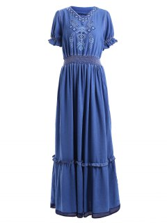 Denim Bohemian V Neck Short Sleeve Maxi Dress - Blue M