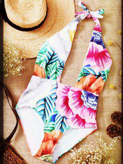 Cut Out Printed Halter One-Piece Swimwear - Pink M