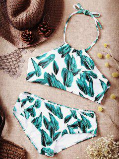 High Neck Leaf Print Bikini Set - White Xl