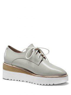 Patent Leather Square Toe Platform Shoes - Gray 38