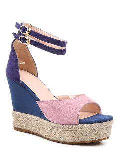Wedge Heel Color Block Ankle Strap Sandals - Pink 38