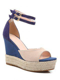 Wedge Heel Color Block Ankle Strap Sandals - Apricot 38