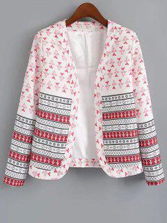 Printed Open Front Blazer - Red With White S