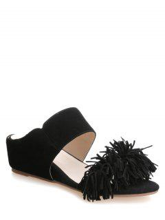 Fringe Wedge Heel Solid Color Slippers - Black 38