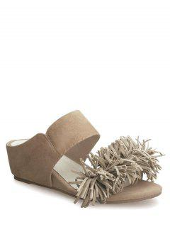 Fringe Wedge Heel Solid Color Slippers - Apricot 37